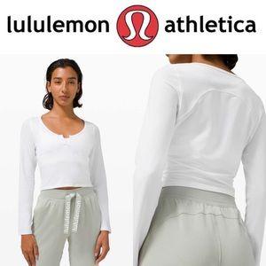 NWOT Lululemon Cropped Henley White Long Sleeve